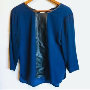 Ann Taylor Navy Top with Leather Detailing